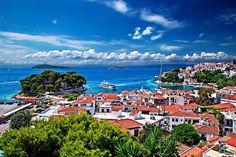 """""""The old port of Skiathos"""" by Hercules Milas   Redbubble Skiathos Island, Old Port, Greek Islands, Hercules, Long Hoodie, Travel Mug, Greece, Old Things, Explore"""