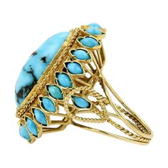 14K Yellow Gold & Turquoise Large Cocktail Ring #TrueMomStyle