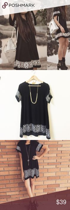 Boho black shift dress Material: cotton and polyester blended. size see the last pic. NWOT Dresses Midi