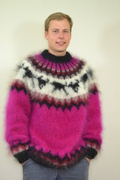Many pictures of soft and fuzzy angora and mohair men's and women's sweaters including vintage and retro. Men's Sweaters, Sweaters For Women, Pull Angora, Icelandic Sweaters, Mohair Sweater, Knitwear, Street Wear, Menswear, Pullover