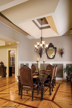 Dramatic tray ceiling in the dining room! Plan #1117 - The Clarkson…