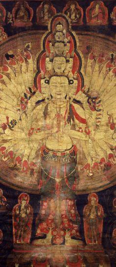 美国鲁宾艺术博物馆:15世纪<wbr><wbr>西藏格鲁派传承唐卡《十一面八臂观音》