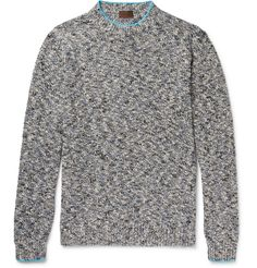 Milanese label <a href='http://www.mrporter.com/mens/Designers/Altea'>Altea</a> is all about traditions and local production - for example, this sweater has been made at the brand's single workshop in Northern Italy. It's knitted with linen and cotton yarns in a mélange of black, cream and blue. Accentuate the contrasting azure trim by letting a white tee peek out along the neckline.