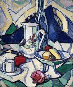 Samuel Peploe Still Life about 1913: In this painting, Peploe has used relatively large objects in the background contrasting with the smaller objects towards the front of the painting. The colours are mostly all cold colours-whites, light blues and yellows are all used. The white colour is used throughout the painting to reflect the overall light look of the painting. Peploe has used large shapes on his painting to make it stand out more.