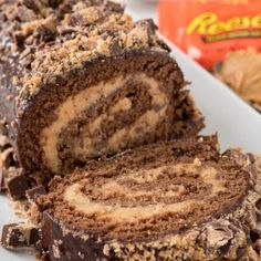 This Peanut Butter Cup Cake Roll is like a Reese's in cake roll form! Chocolate cake filled with peanut butter cup filling - it's such an easy recipe! Cake Roll Recipes, Cupcake Recipes, Cupcake Cakes, Dessert Recipes, Cupcakes, Tea Cakes, Top Recipes, Recipies, Delicious Recipes