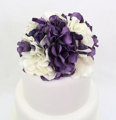 Wedding Cake Topper  Purple Ivory Cream Hydrangea by ItTopsTheCake, $30.00 - would make pretty bridesmaid bouquets!