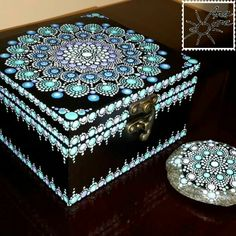 Ana are soare 😊cheap surface to practice on Dot Art Painting, Mandala Painting, Mandala Art, Painted Wooden Boxes, Painted Jewelry Boxes, Mandala Painted Rocks, Mandala Rocks, Painted Ornaments, Diy Arts And Crafts