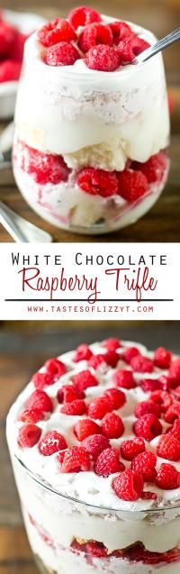 WHITE CHOCOLATE RASPBERRY TRIFLE on MyRecipeMagic.comTrifle has layers of cake, pudding and raspberry cream. Not only is it gorgeous, but it comes together quickly and serves a crowd.