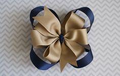 Boutique School Uniform Hair Bow  Navy Blue Khaki by TenCowQuilts, $10.00