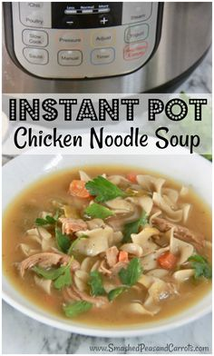This homemade Instant Pot Chicken Noodle Soup is the best chicken noodle soup you'll ever have and it couldn't be easier to make. It is loaded with big chunks of chicken, lots of veggies, and a rich flavorful broth.