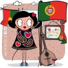 Dia de Portugal, de Camões e das Comunidades Portuguesas 🇵🇹 bom feriado aiais do meu ❤️!! 💚💛❤️ podem partilhaaaar ❤️😃🎉 #aiaimatilde #diadeportugal #portugal #madeinportugal #copyright #galodebarcelos #barcelos #fado #vinhodoporto #lençodosnamorados Portuguese Culture, Learn Portuguese, Portuguese Language, Azores, Algarve, Girl Cartoon, Travel With Kids, Little Girls, Mickey Mouse