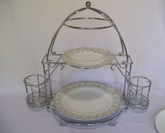 Vintage Chrome 2 Tier Buffet Server/Plate Holder with Removable Silverware/Condiment Holders by & Bed Bath u0026 Beyond Two-Tier Buffet Server | Buffet server Buffet and ...