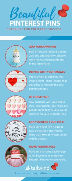 How to Create Beautiful Pinterest Pins- including uniform look and dimensions (600x900 is one option).