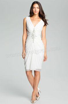 Embellished Ruched Chiffon Dress