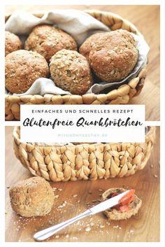Quarkbrötchen mit glutenfreiem Mehl, Quark, Leinsamen. Einfach und schnelles Backen. Rezept für ein leckeres Frühstück.