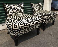 Geometric Greek Key Slipper Chairs eclectic-living-room-chairs