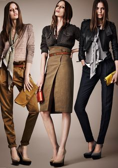 Burberry  leather jacket  wide trousers   khaki  pencil skirt