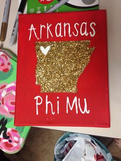 Glitter Arkansas Phi Mu canvas