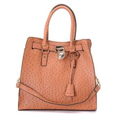 Michael Kors Large Hamilton Sandy Brown Ostrich-Embossed Tote