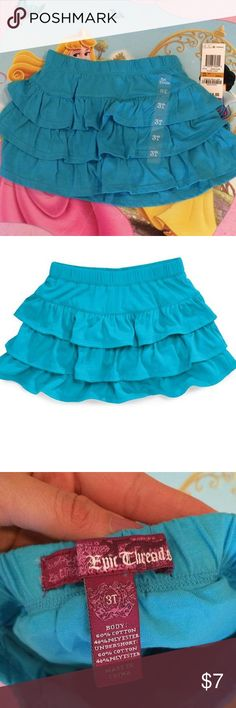 Teal ruffle skirt New with tags. Epic Threads Bottoms Skirts