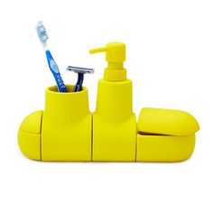 Too cute for lake bathroom! Yellow or white.  SUBMARINO PORCELAIN BATHROOM ACCESSORY SET