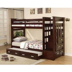 Allentown Twin over Twin Bunk Bed, Espresso - Walmart.com