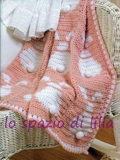 lo spazio di lilla: Copertina per neonato all'uncinetto con i coniglietti / Crochet baby blanket with bunnies
