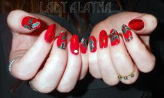 Hand painted red holly Christmas nails - inspired by one of the queens of nail art, AstroWifey :-)  Instagram @LadyAlayna  www.facebook.com/ladyalaynanailart  Just the Tip Nail Art by Alayna Josz
