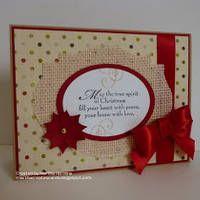 Merry Monday Christmas Card Club by Martha H...love the burlap shape!  :)