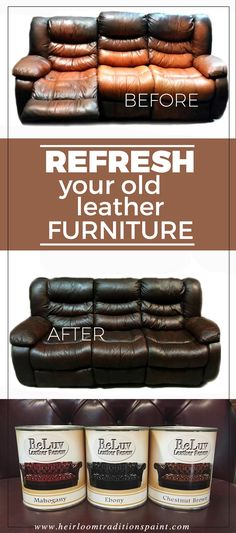 Bring new life to your old stained and faded leather with ReLuv Leather Renew by Heirloom Traditions. ReLuv is a proprietary product from Heirloom Traditions Paint and is available through our retailers nationwide. Please visit our website at www.heirloomtraditionspaint.com