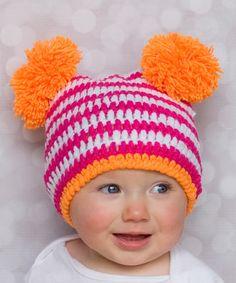 Cute - color & style inspiration -  Pink & Orange Stripe Crochet Beanie
