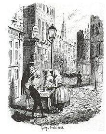 "Charles Dickens, ""The Street - morning"", illustration by George Cruikshank"