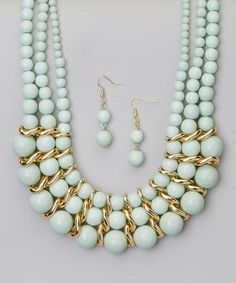c78532cf0e34 Loving this Mint Bead Necklace   Drop Earrings on  zulily!  zulilyfinds  Collares Largos
