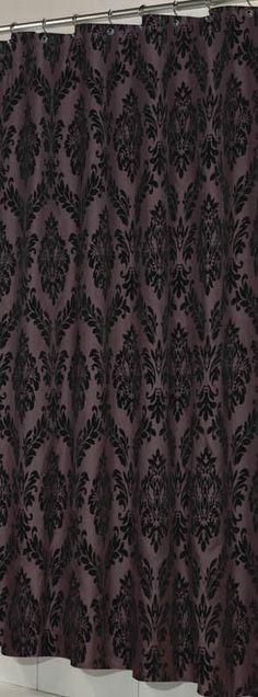 French Inspired Fabric Shower Curtain With Flocking Brown Black
