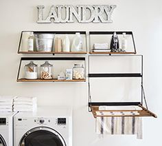 Find laundry room accessories from Pottery Barn. Update your laundry room with expertly crafted and stylish laundry hampers, ironing boards and laundry shelving. Drying Rack Laundry, Laundry Room Organization, Laundry Room Design, Storage Organization, Laundry Detergent Storage, Drying Racks, Organized Laundry Rooms, Laundry Storage, Laundry Tips
