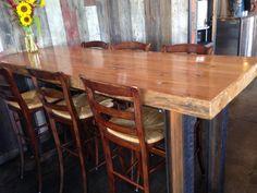 Black's Farmwood Antique Barn Beam Table with I-Beam Legs #reclaimedwoodtables @blacksfarmwood