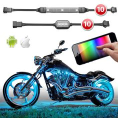 Premium 10 Strip 10 Pod iOS Android App WiFi Control LED Motorcycle LED Neon Underglow Accent Light Kit - XK Carbon Series