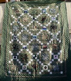 Military Quilts  incorporates fabric from uniforms and patches