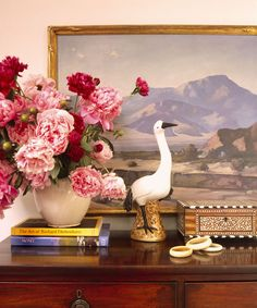 The whole vignette, but especially the bird and flowers juxtaposed in front of the landscape.  By Schuyler Samperton.