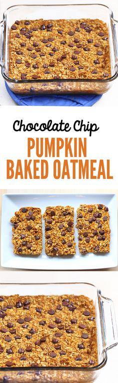 Pumpkin Baked Oatmeal - 2 cups oats, 1 cup pumpkin, 1 tsp cinnamon, 2 tsp vanilla, 1 1/2 cups... Full recipe: http://chocolatecoveredkatie.com/2014/11/13/pumpkin-baked-oatmeal/ @choccoveredkt
