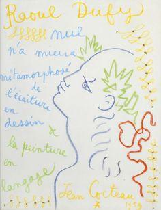 Jean Cocteau à propos de Raul Dufy Raoul Dufy, Illustrations, Illustration Art, Jean Cocteau, Fluxus, Muse Art, Smart Art, Bohemian Art, Art Graphique