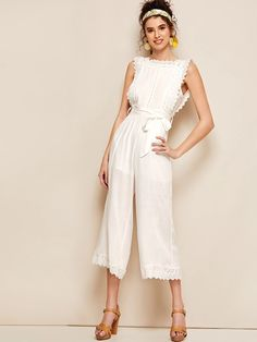 To find out about the Eyelet Embroidery Ruffle Trim Belted Backless Jumpsuit at SHEIN, part of our latest Jumpsuits ready to shop online today! Ruffle Trim, Ruffles, White Romper Dress, Backless Jumpsuit, Embroidery Fabric, Neck Pattern, Lingerie Sleepwear, White Patterns, Size Model