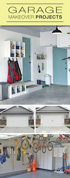 Terrace Garden Garage Makeover Projects Lots of tips and ideas from garage organization to mudrooms to garage door makeovers! Garden Garage Makeover Projects Lots of tips and ideas from garage organization to mudrooms to garage door makeovers! Garage Entry, Garage House, Diy Garage, Garage Doors, Garage Ideas, Door Ideas, Garage Decorating Ideas, Garage Cupboards, Mud Room Garage