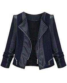 GloryA Womens Sports Biker Chic Coat Printed Long Sleeve Baseball Collar Jacket
