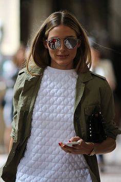 617e3ea94603 15 Ways To Wear A Green Army Jacket  Olivia Palermo    mirrored aviator  sunglasses   white quilted top