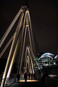 Waterloo Bridge is a road and foot traffic bridge crossing the River Thames in London, England between Blackfriars Bridge and Hungerford Bridge.