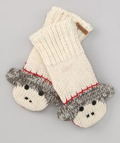Look at this #zulilyfind! White & Gray Sock Monkey Mittens - Kids & Adult by Knitwits by Delux #zulilyfinds