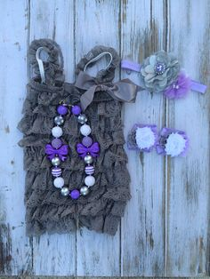 Gray and Lavender Lace Romper 4 pc Set by TheBloomingLilac2013