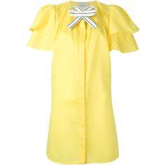 Daniele Carlotta Bow Detail Shirt Dress ($630) ❤ liked on Polyvore featuring dresses, long shirt dress, yellow cotton dress, yellow dress, bow dress and shirt dress