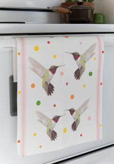 Kitchen Tea Towel Hummingbird Watercolor Retro Modern by Paperlore